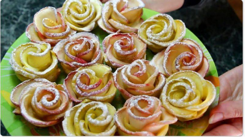 Խնձորով վարդերի փունջ տոնական սեղանի համար. Շատ համեղ և գեղեցիկ կարկանդակներ