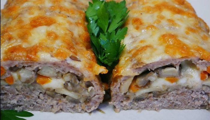 Աղացած միս, սունկ, պանիր՝ համեղ և գեղեցիկ նախուտեստ