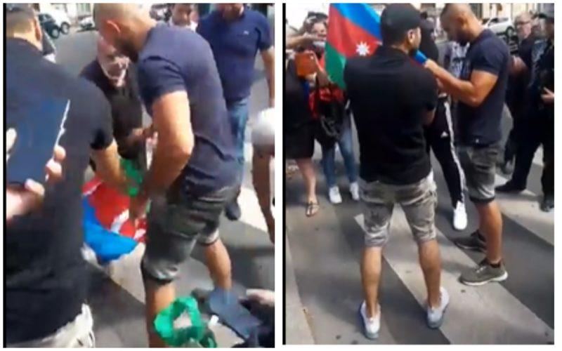 Ինչպես Փարիզում հայերը խլեցին ադրբեջանցուց իր դրոշն ու այրեցին․տեսանյութ