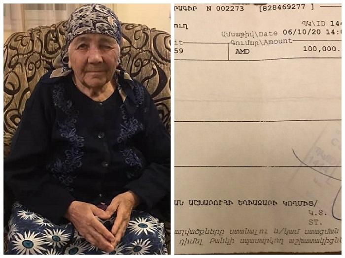 87-ամյա Աշխարհուհի Գրիգորյանն իր վիրահատության համար խնայած գումարը փոխանցել  է «Հայաստան» համահայկական հիմնադրամին. մանրամասներ