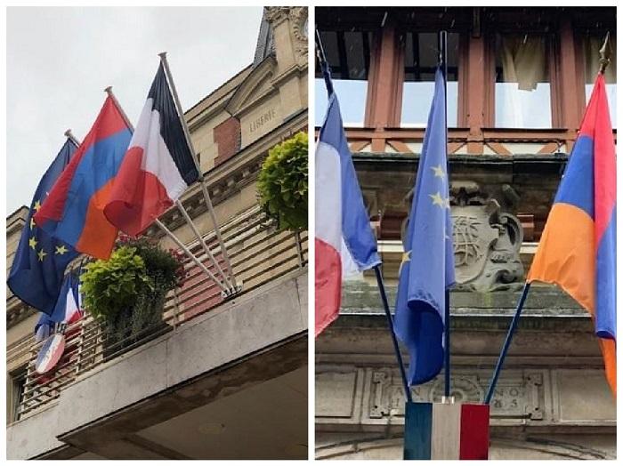 Ֆրանսիայում բարձրացրել են Հայաստանի դրոշը՝ ի ցույց համերաշխության հայ ժողովրդի