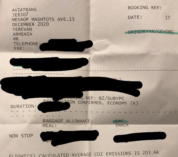 """""""Բարով մնաք."""" Դերասան Գևորգ Գրիգորյանը ինքնաթիռի տոմս է գնել. նա լուսանկար է հրապարակել"""